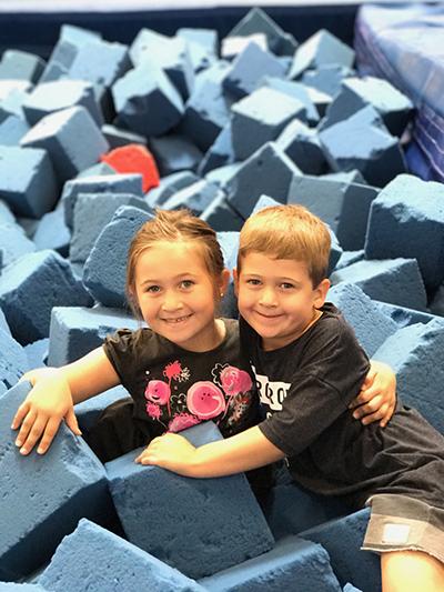 kids in gym foam pit
