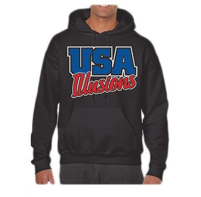 Long Sleeve Hoodie Black USA Youth Fitness Center