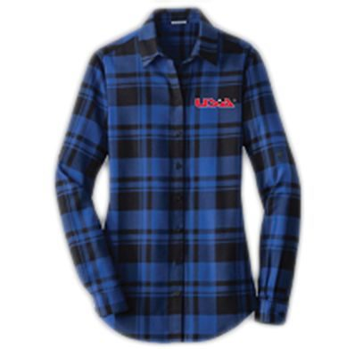 Long Sleeve Flannel Blue Front - USA Youth Fitness Center