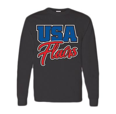 Long Sleeve Tee Black USA Youth Fitness Center