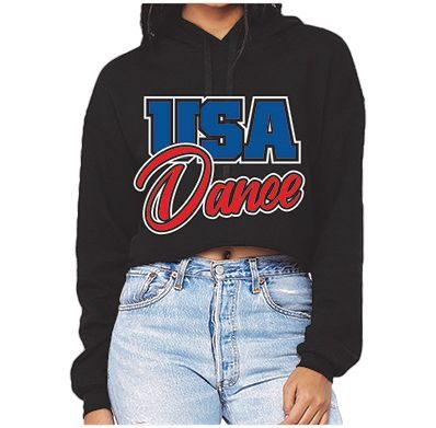 Women's Crop Hoodie Front - USA Youth Fitness Center