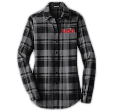 Women's Long Sleeve Flannel Black Front - USA Youth Fitness Center