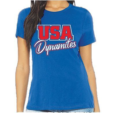 Women's Short Sleeve Tee Blue Front - USA Youth Fitness Center